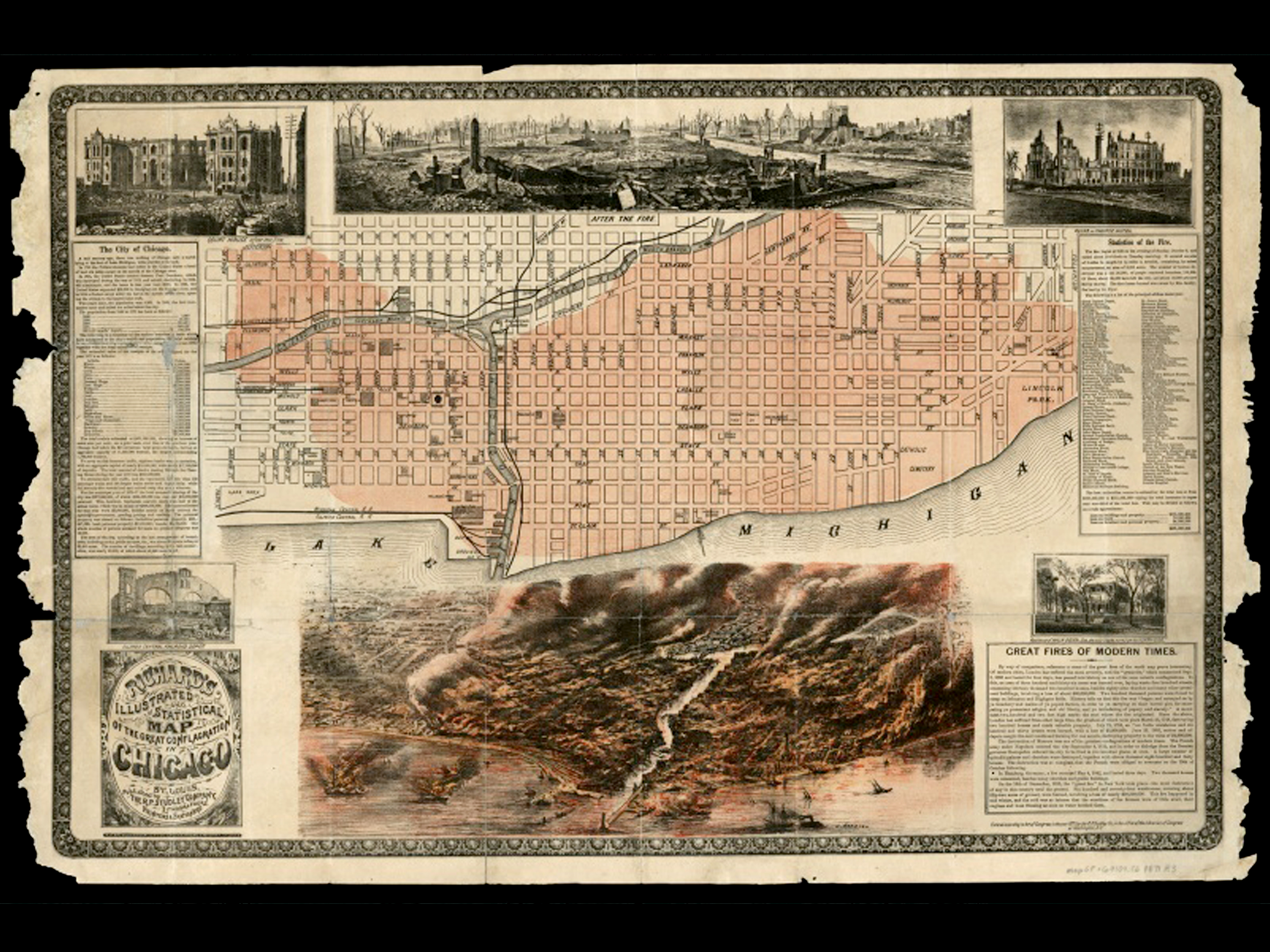 Progress Of The Chicago Fire Of  Michael P Conzen With Great - Chicago fire map